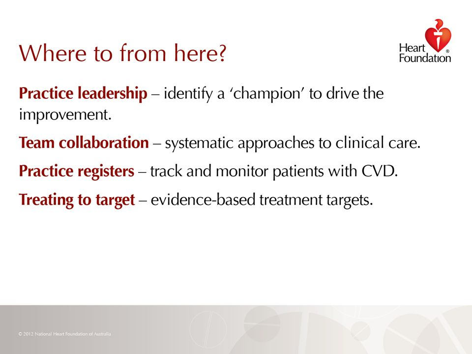 © 2012 National Heart Foundation of Australia Slide 31
