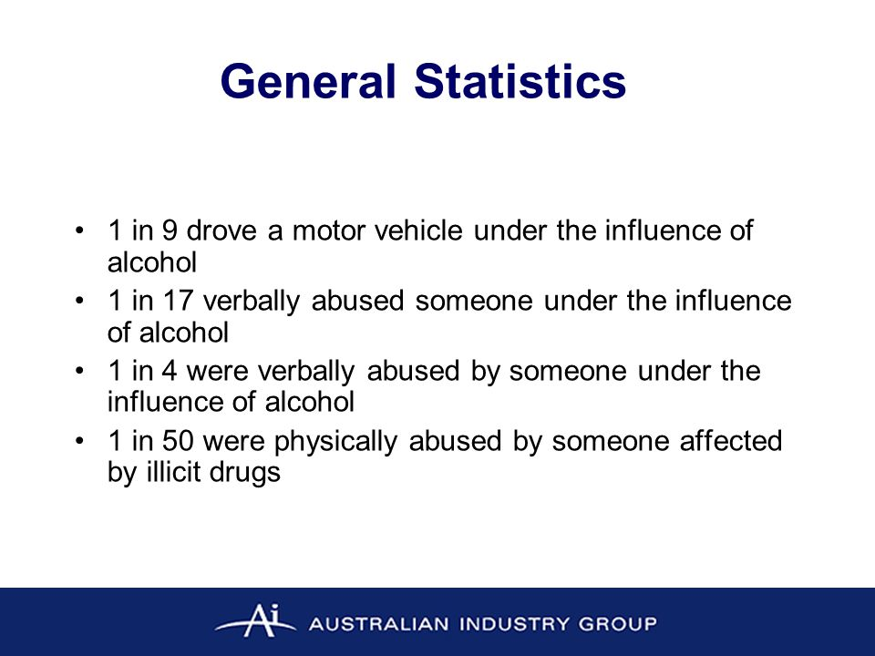 General Statistics 1 in 9 drove a motor vehicle under the influence of alcohol 1 in 17 verbally abused someone under the influence of alcohol 1 in 4 were verbally abused by someone under the influence of alcohol 1 in 50 were physically abused by someone affected by illicit drugs