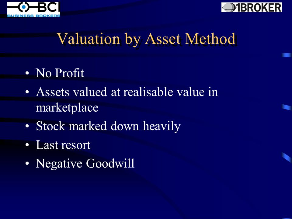 Valuation by Return on Investment Determine Profit Internal and External Analysis Assess Risk Choose a multiplier of profit Compare recent sales Arrive at a valuation figure