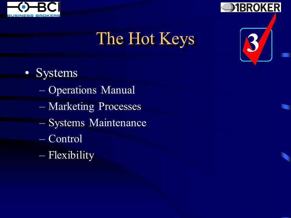 The Hot Keys Administration –Company, Business and Domain Names –Insurances –Contracts with suppliers/clients/staff –Policies and Procedures –Data and other Security 2