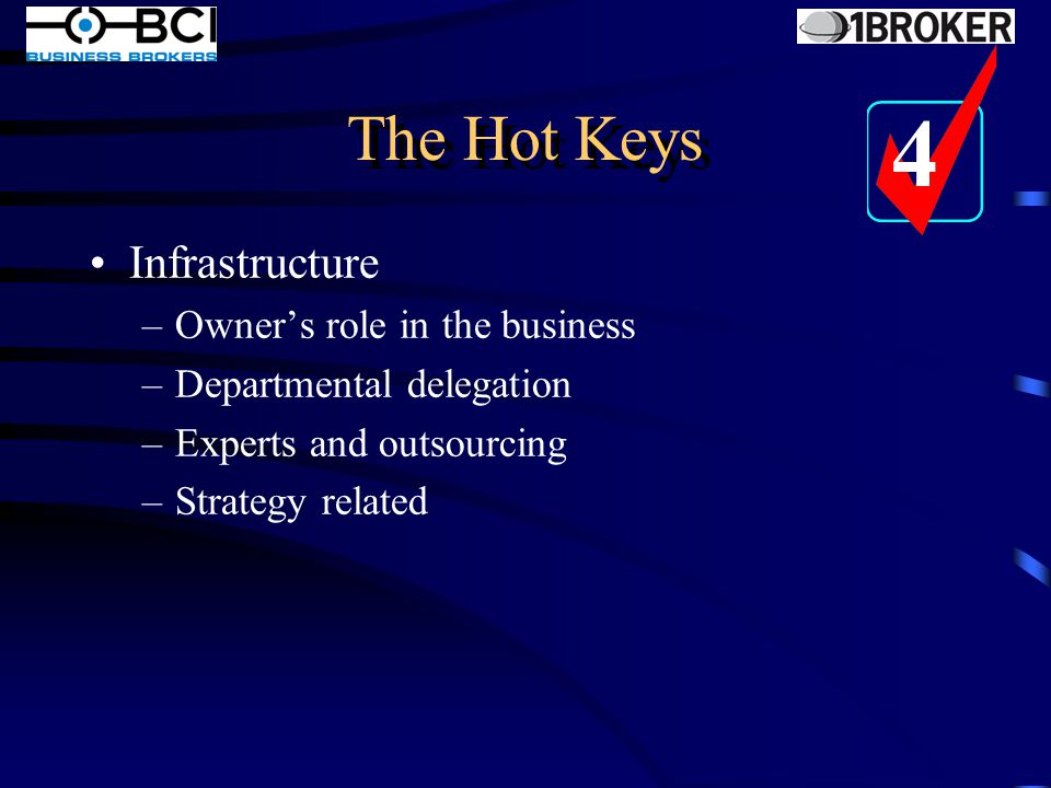 The Hot Keys Systems –Operations Manual –Marketing Processes –Systems Maintenance –Control –Flexibility 3