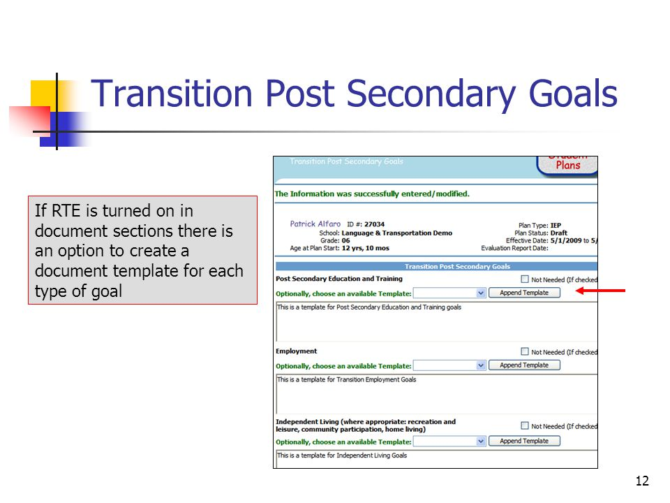 Student Plans v New for Plans & Evaluations! Revised transition ...