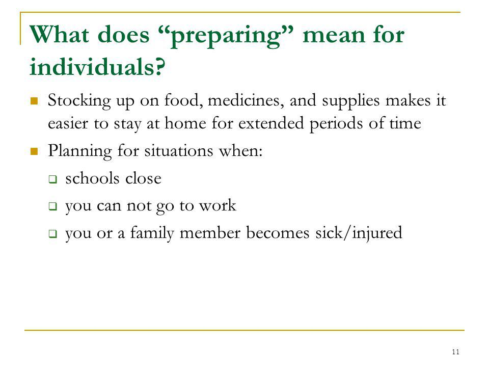 What does preparing mean for individuals.
