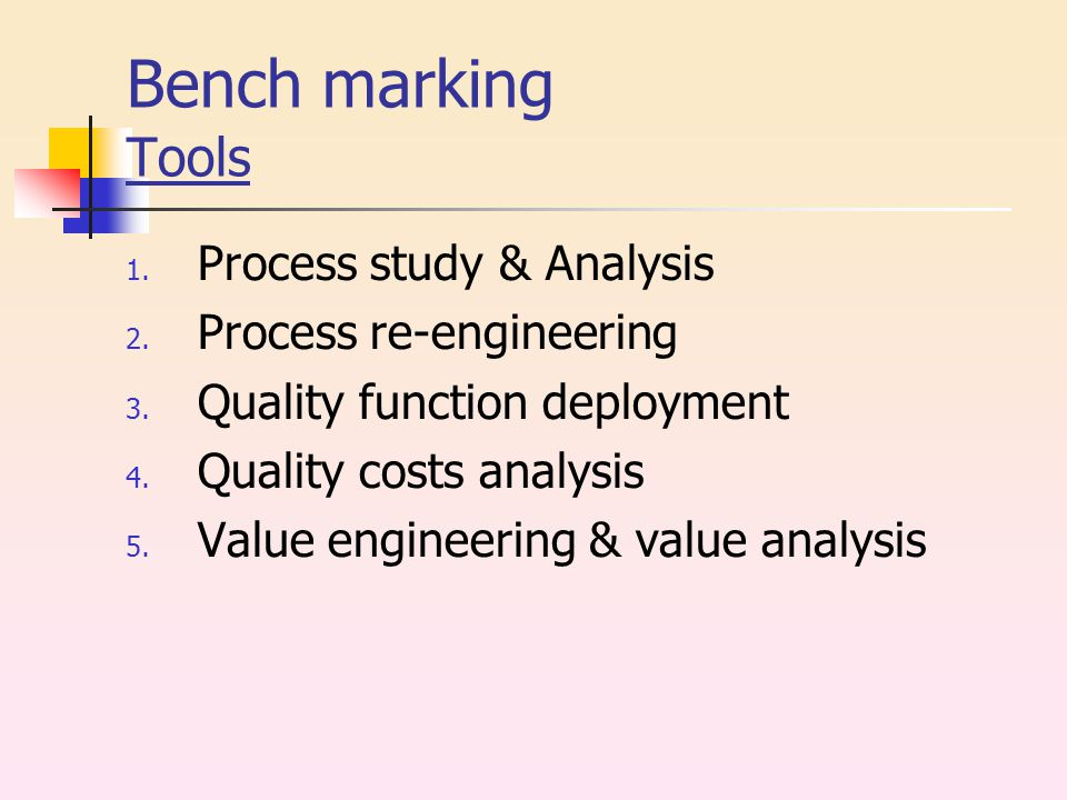 Bench marking Tools 1. Process study & Analysis 2.