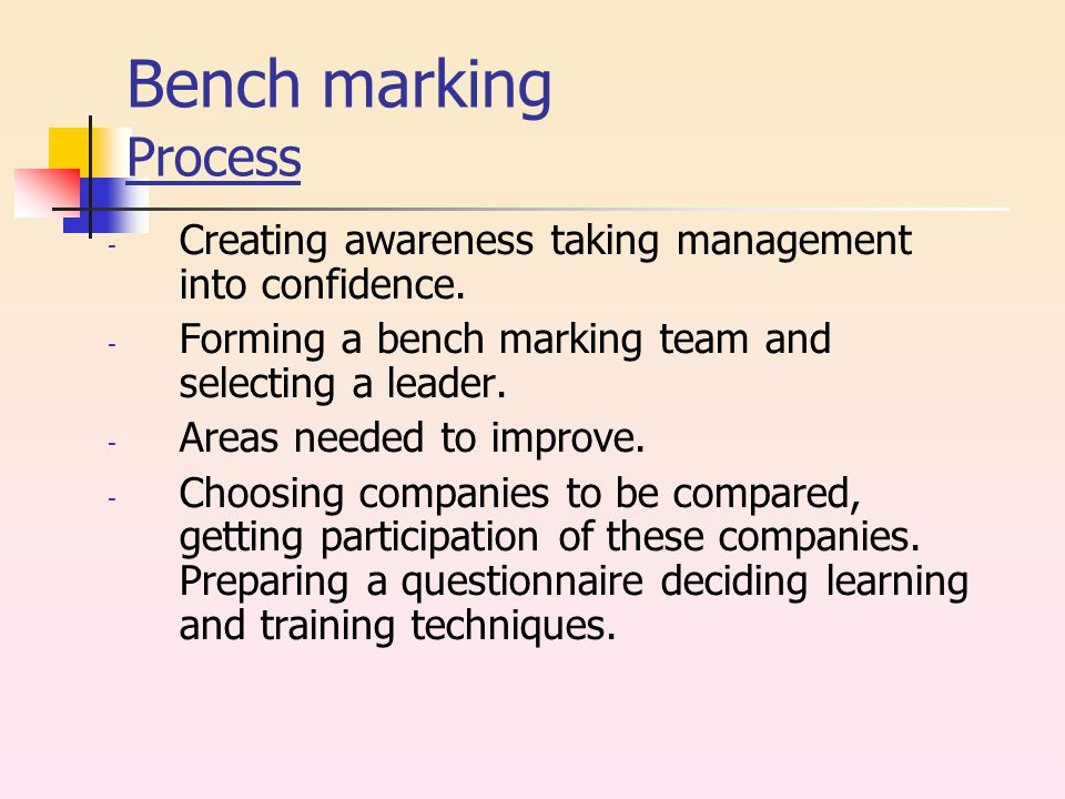 Bench marking Process - Creating awareness taking management into confidence.
