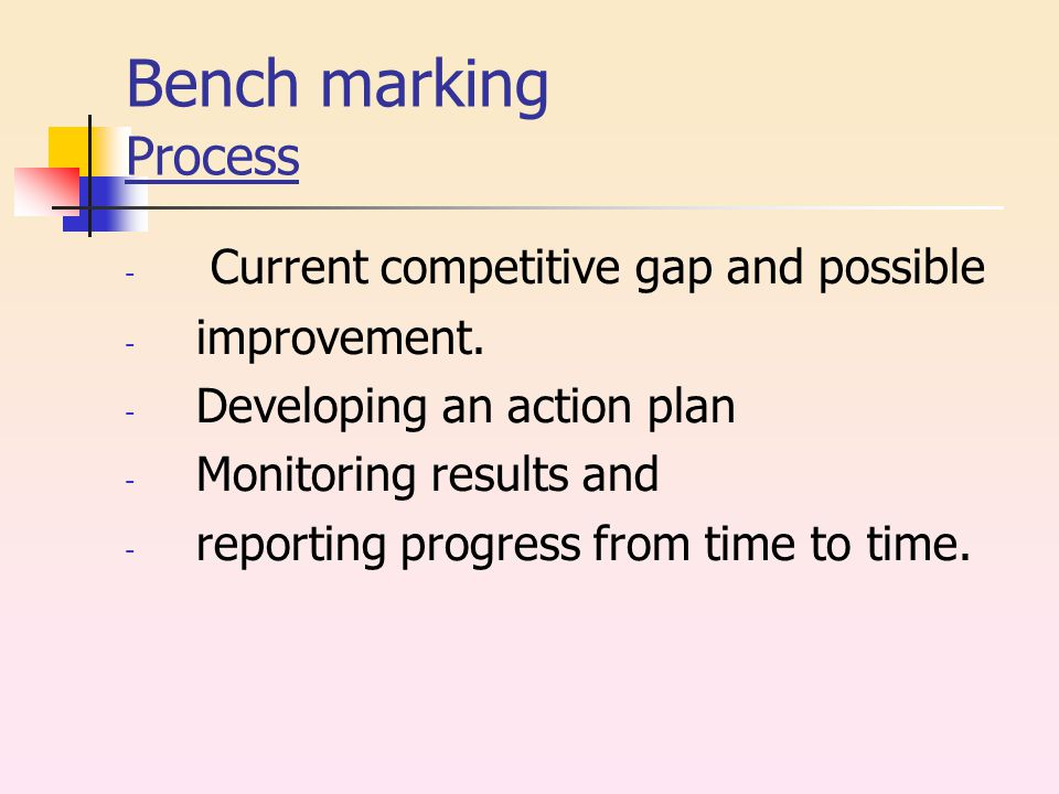 Bench marking Process - Current competitive gap and possible - improvement.