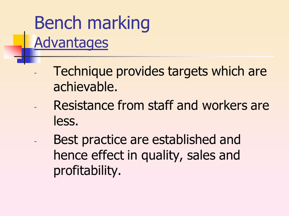 Bench marking Advantages - Technique provides targets which are achievable.