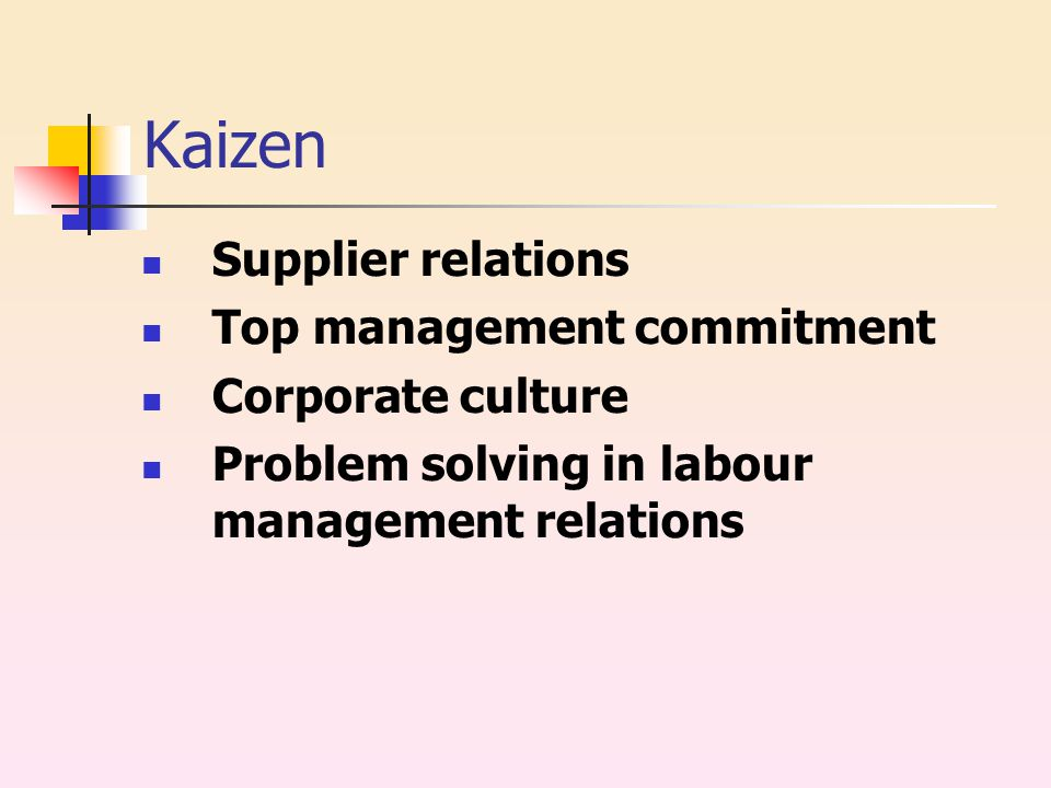 Kaizen Supplier relations Top management commitment Corporate culture Problem solving in labour management relations