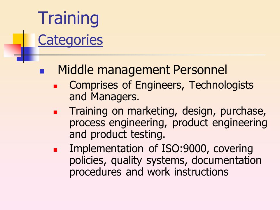 Training Categories Middle management Personnel Comprises of Engineers, Technologists and Managers.