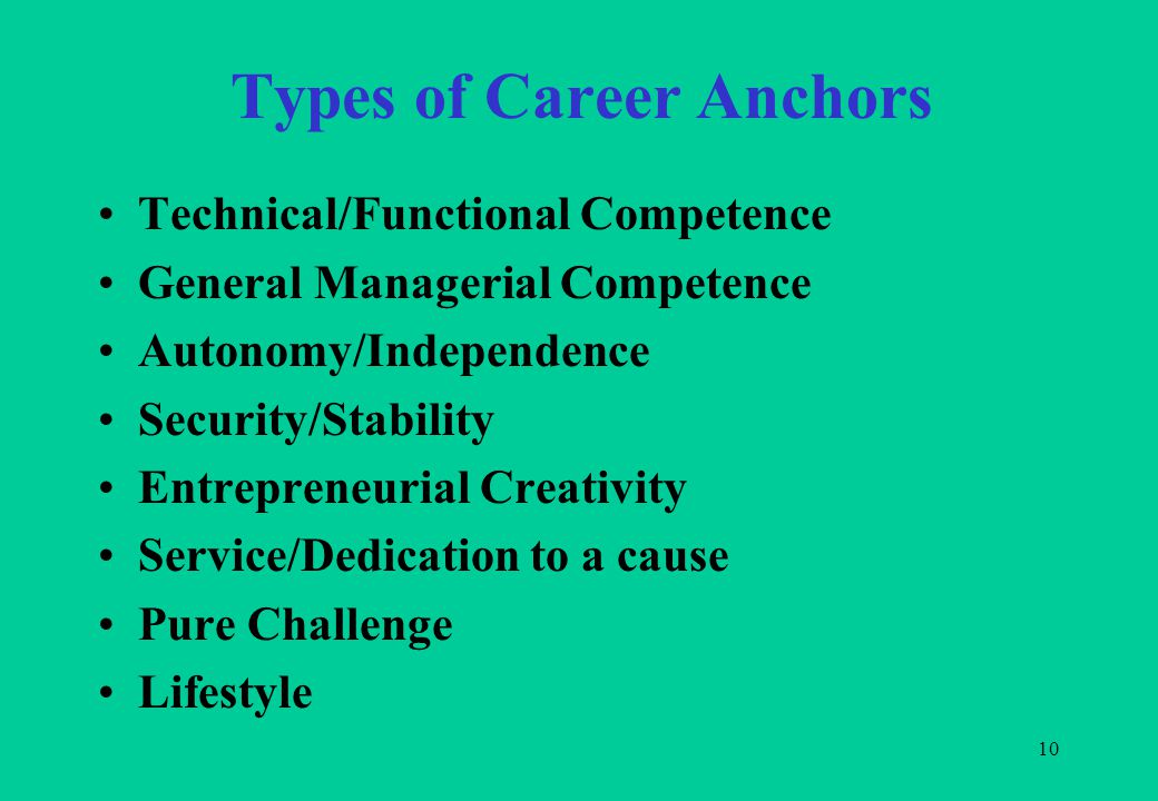 10 Types of Career Anchors Technical/Functional Competence General Managerial Competence Autonomy/Independence Security/Stability Entrepreneurial Creativity Service/Dedication to a cause Pure Challenge Lifestyle