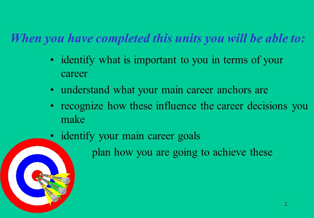 2 When you have completed this units you will be able to: identify what is important to you in terms of your career understand what your main career anchors are recognize how these influence the career decisions you make identify your main career goals plan how you are going to achieve these