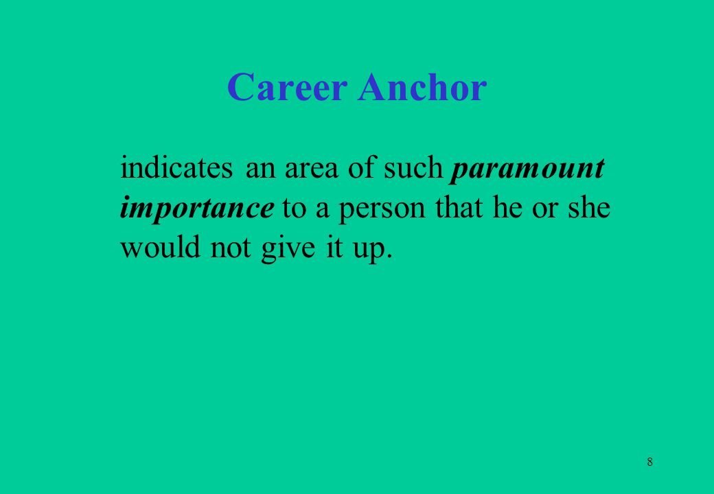 8 Career Anchor indicates an area of such paramount importance to a person that he or she would not give it up.