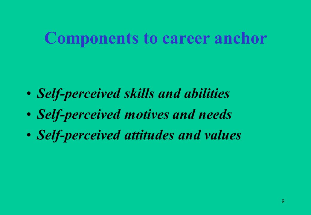 9 Components to career anchor Self-perceived skills and abilities Self-perceived motives and needs Self-perceived attitudes and values