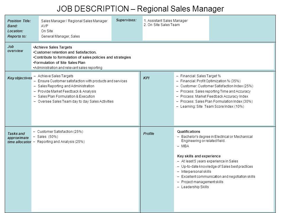 regional sales manager job description