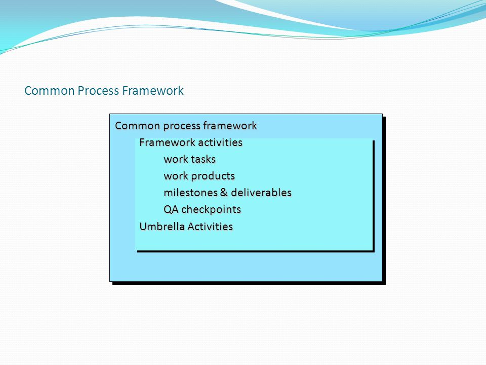 Common Process Framework Common process framework Framework activities work tasks work products milestones & deliverables QA checkpoints Umbrella Activities