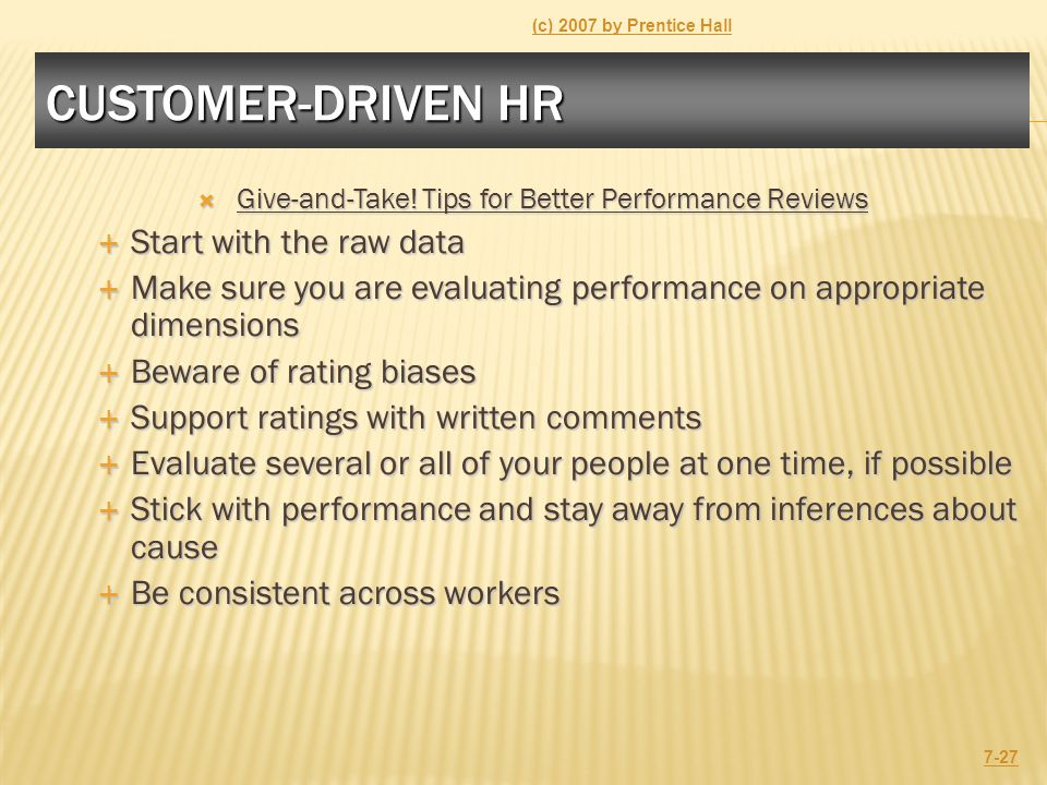 CUSTOMER-DRIVEN HR  Give-and-Take.