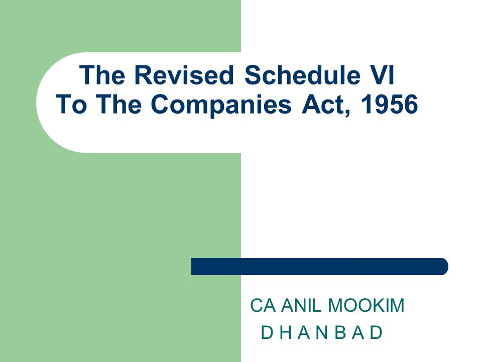 The Revised Schedule VI To The Companies Act, 1956 CA ANIL MOOKIM D H A N B A D