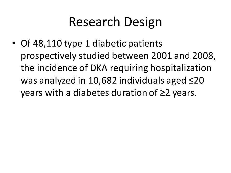 Research Design Of 48,110 type 1 diabetic patients prospectively studied between 2001 and 2008, the incidence of DKA requiring hospitalization was analyzed in 10,682 individuals aged ≤20 years with a diabetes duration of ≥2 years.