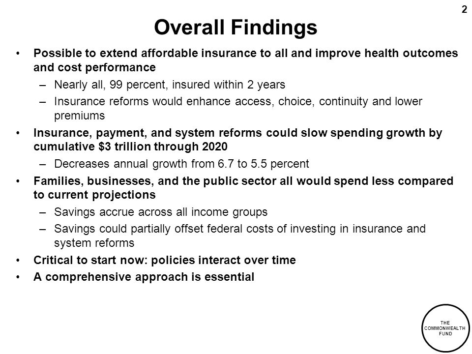 THE COMMONWEALTH FUND 2 Overall Findings Possible to extend affordable insurance to all and improve health outcomes and cost performance –Nearly all, 99 percent, insured within 2 years –Insurance reforms would enhance access, choice, continuity and lower premiums Insurance, payment, and system reforms could slow spending growth by cumulative $3 trillion through 2020 –Decreases annual growth from 6.7 to 5.5 percent Families, businesses, and the public sector all would spend less compared to current projections –Savings accrue across all income groups –Savings could partially offset federal costs of investing in insurance and system reforms Critical to start now: policies interact over time A comprehensive approach is essential