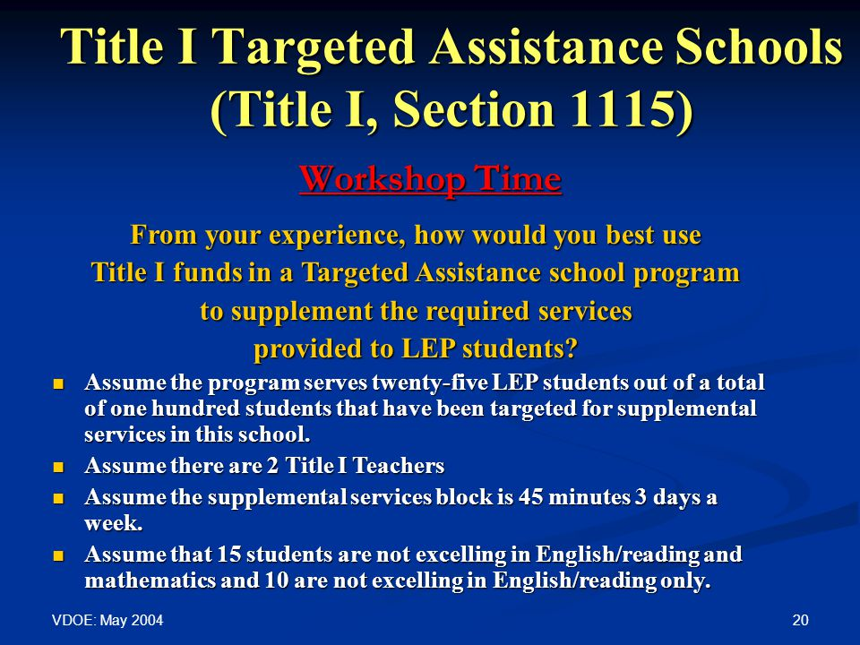 VDOE: May Title I Targeted Assistance Schools (Title I, Section 1115) Workshop Time From your experience, how would you best use Title I funds in a Targeted Assistance school program to supplement the required services provided to LEP students.