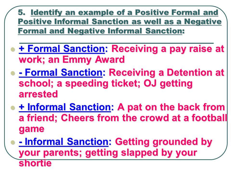 informal sanctions examples