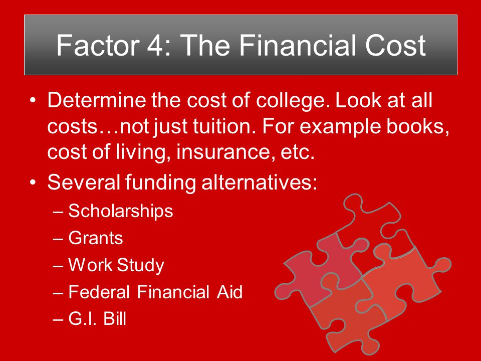 Determine the cost of college. Look at all costs…not just tuition.