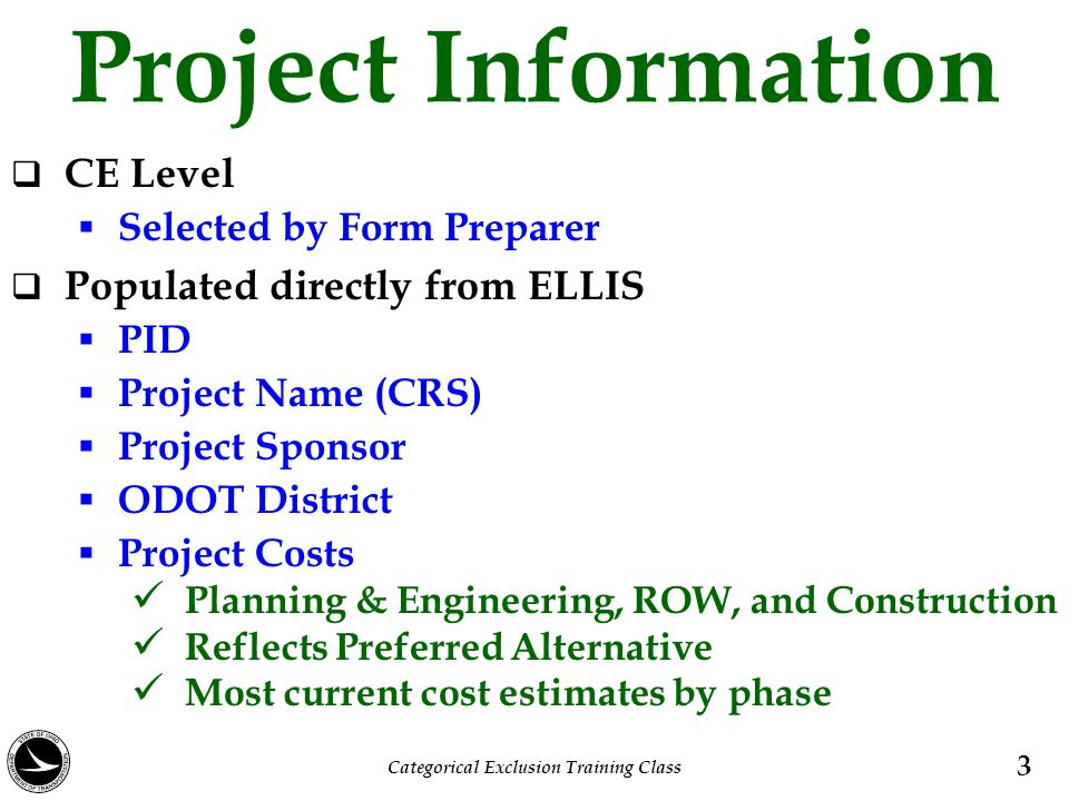 Project, Cost Schedule, and Work Limits Roadway Character