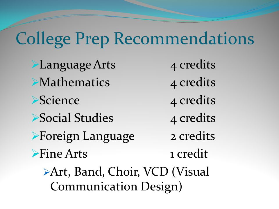 College Prep Recommendations  Language Arts4 credits  Mathematics4 credits  Science4 credits  Social Studies4 credits  Foreign Language2 credits  Fine Arts1 credit  Art, Band, Choir, VCD (Visual Communication Design)