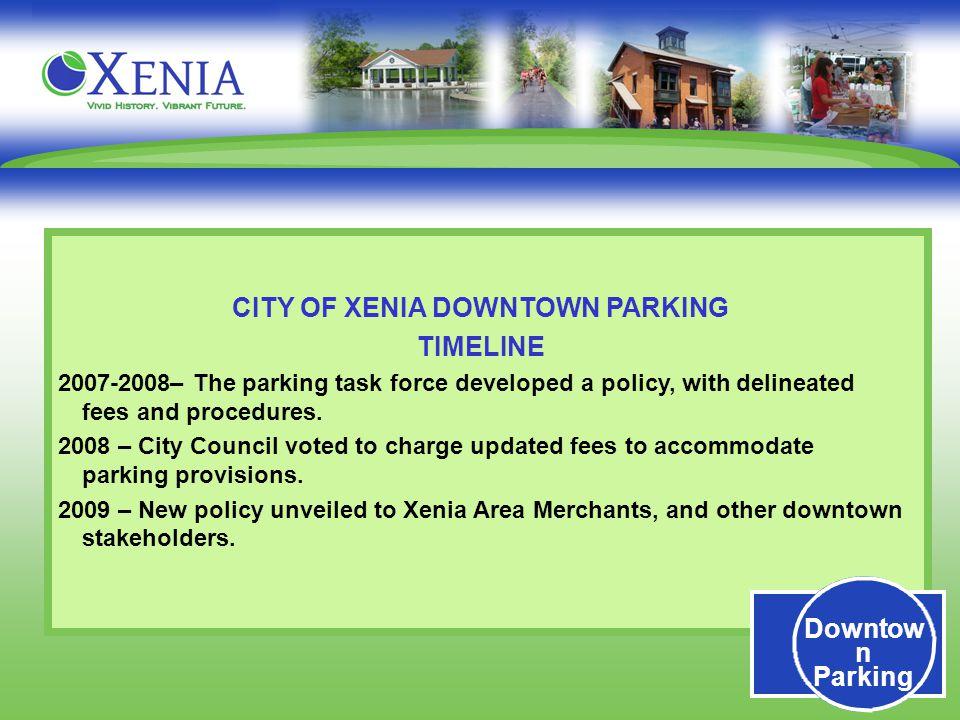 XAMA January 8, 2008 Downtown Parking  CITY OF XENIA