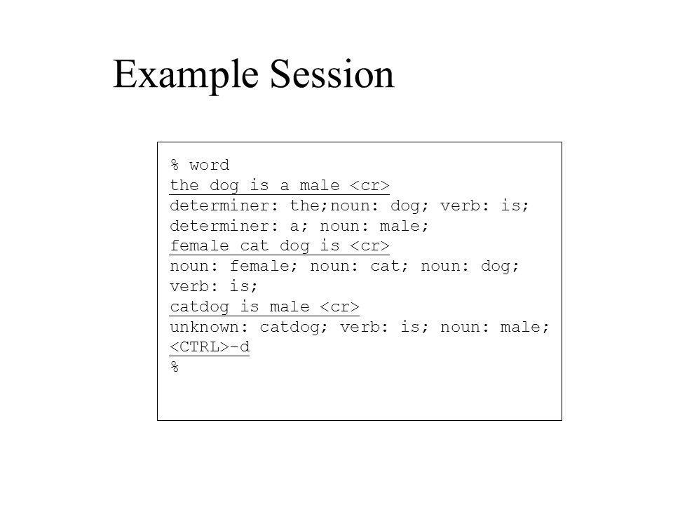 Example Session % word the dog is a male determiner: the;noun: dog; verb: is; determiner: a; noun: male; female cat dog is noun: female; noun: cat; noun: dog; verb: is; catdog is male unknown: catdog; verb: is; noun: male; -d %