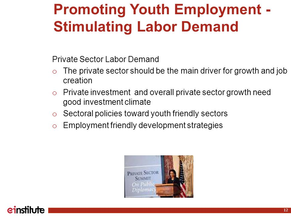 Promoting Youth Employment - Stimulating Labor Demand 12 Private Sector Labor Demand o The private sector should be the main driver for growth and job creation o Private investment and overall private sector growth need good investment climate o Sectoral policies toward youth friendly sectors o Employment friendly development strategies