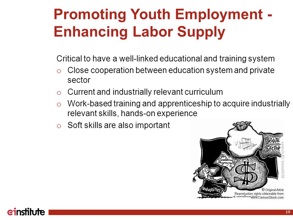 Promoting Youth Employment - Enhancing Labor Supply 19 Critical to have a well-linked educational and training system o Close cooperation between education system and private sector o Current and industrially relevant curriculum o Work-based training and apprenticeship to acquire industrially relevant skills, hands-on experience o Soft skills are also important