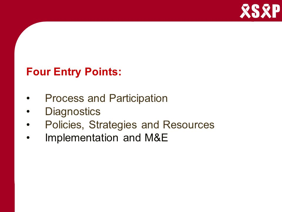 S P Four Entry Points: Process and Participation Diagnostics Policies, Strategies and Resources Implementation and M&E