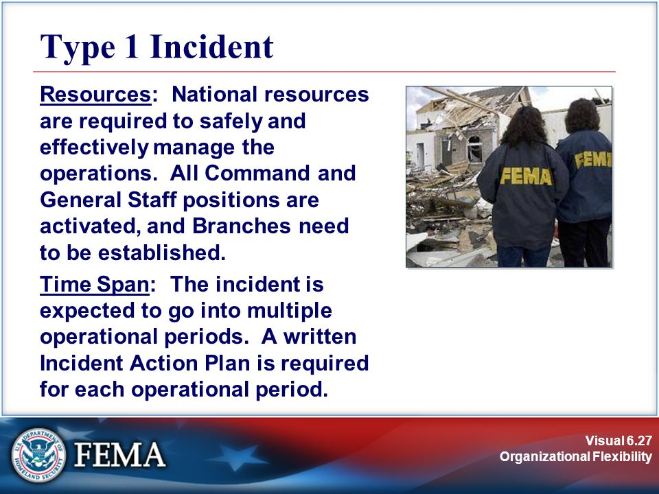 Visual 6.27 Organizational Flexibility Type 1 Incident Resources: National resources are required to safely and effectively manage the operations.
