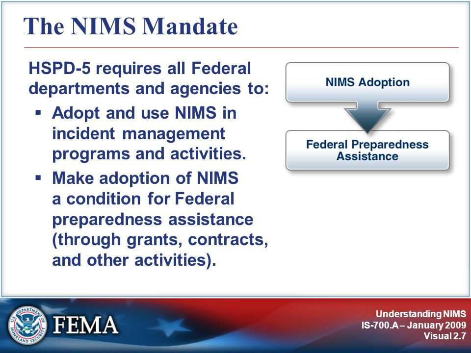 Understanding NIMS IS-700.A – January 2009 Visual 2.7 The NIMS Mandate HSPD-5 requires all Federal departments and agencies to:  Adopt and use NIMS in incident management programs and activities.