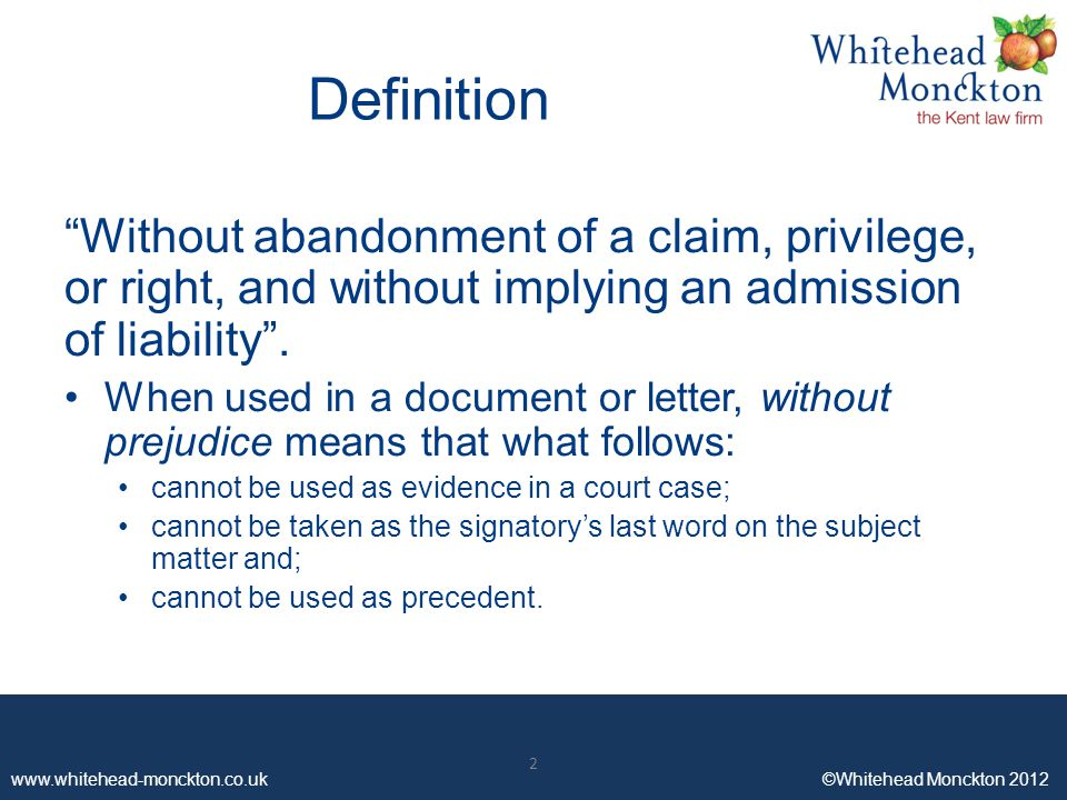 meaning of without prejudice in legal letters