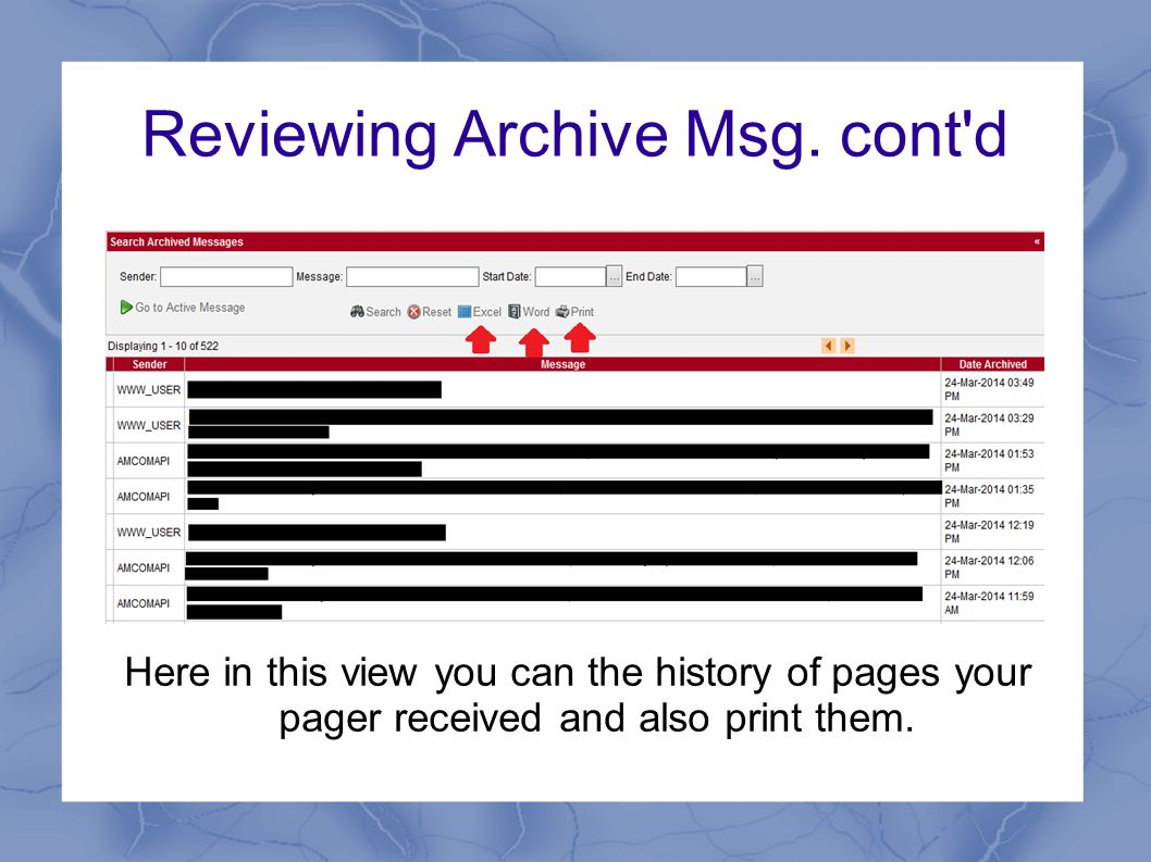 Reviewing Archive Msg.