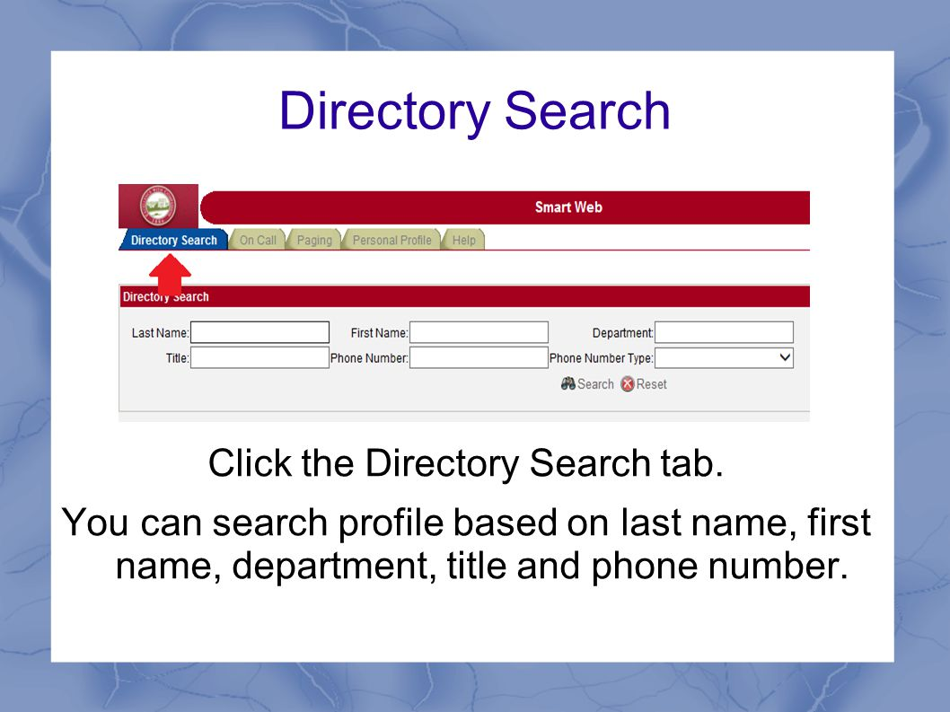 Directory Search Click the Directory Search tab.