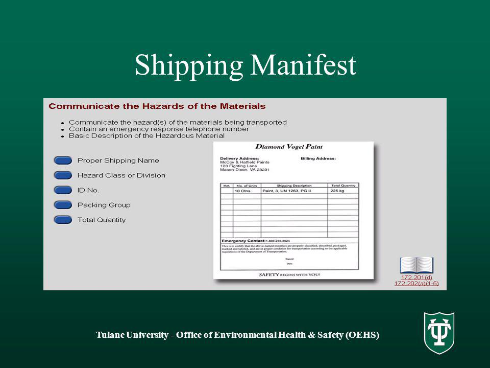 Shipping Manifest