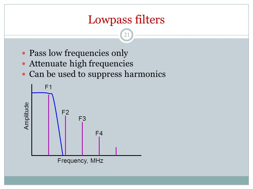 Lowpass filters Pass low frequencies only Attenuate high frequencies Can be used to suppress harmonics Frequency, MHz Amplitude F1 F2 F3 F4 21