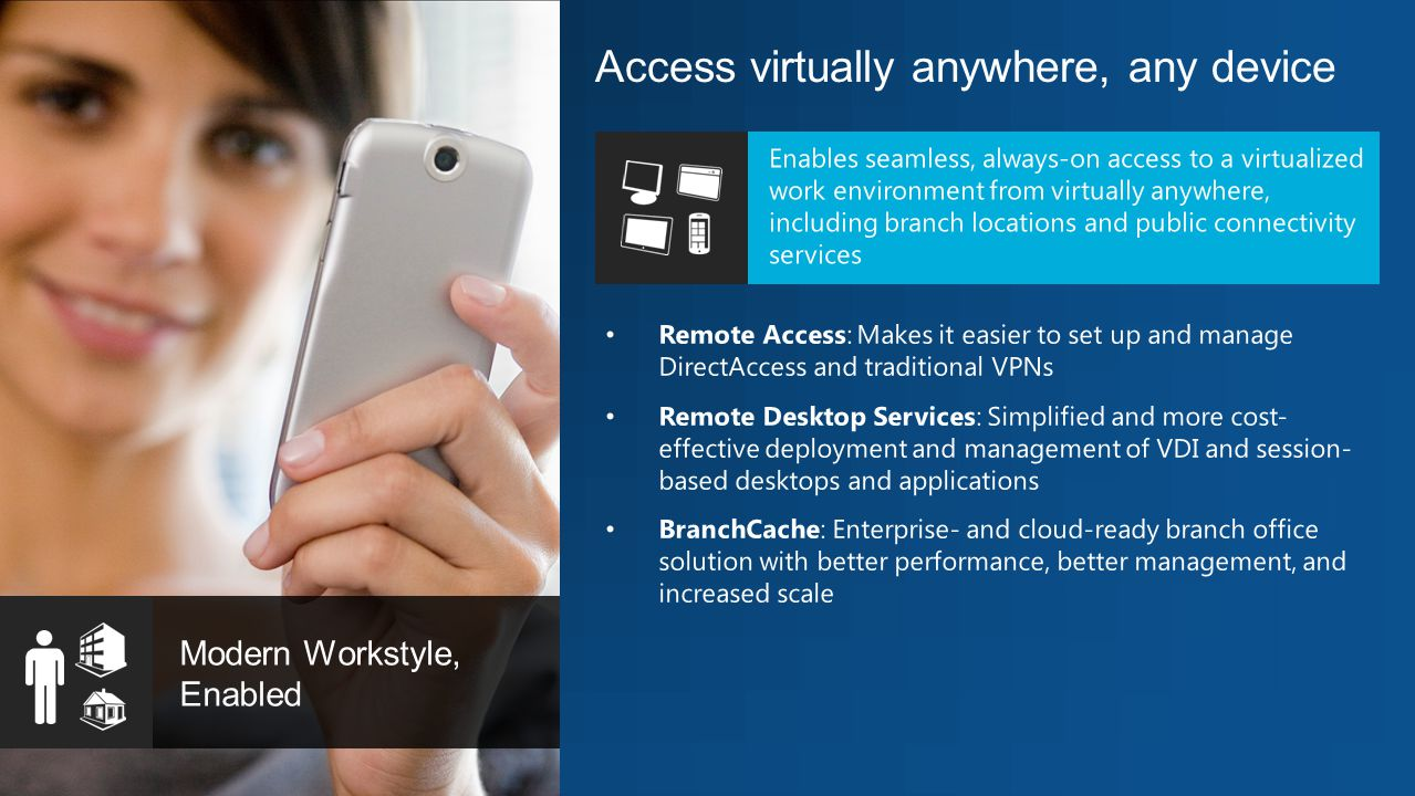 Access virtually anywhere, any device Modern Workstyle, Enabled Enables seamless, always-on access to a virtualized work environment from virtually anywhere, including branch locations and public connectivity services Remote Access: Makes it easier to set up and manage DirectAccess and traditional VPNs Remote Desktop Services: Simplified and more cost- effective deployment and management of VDI and session- based desktops and applications BranchCache: Enterprise- and cloud-ready branch office solution with better performance, better management, and increased scale