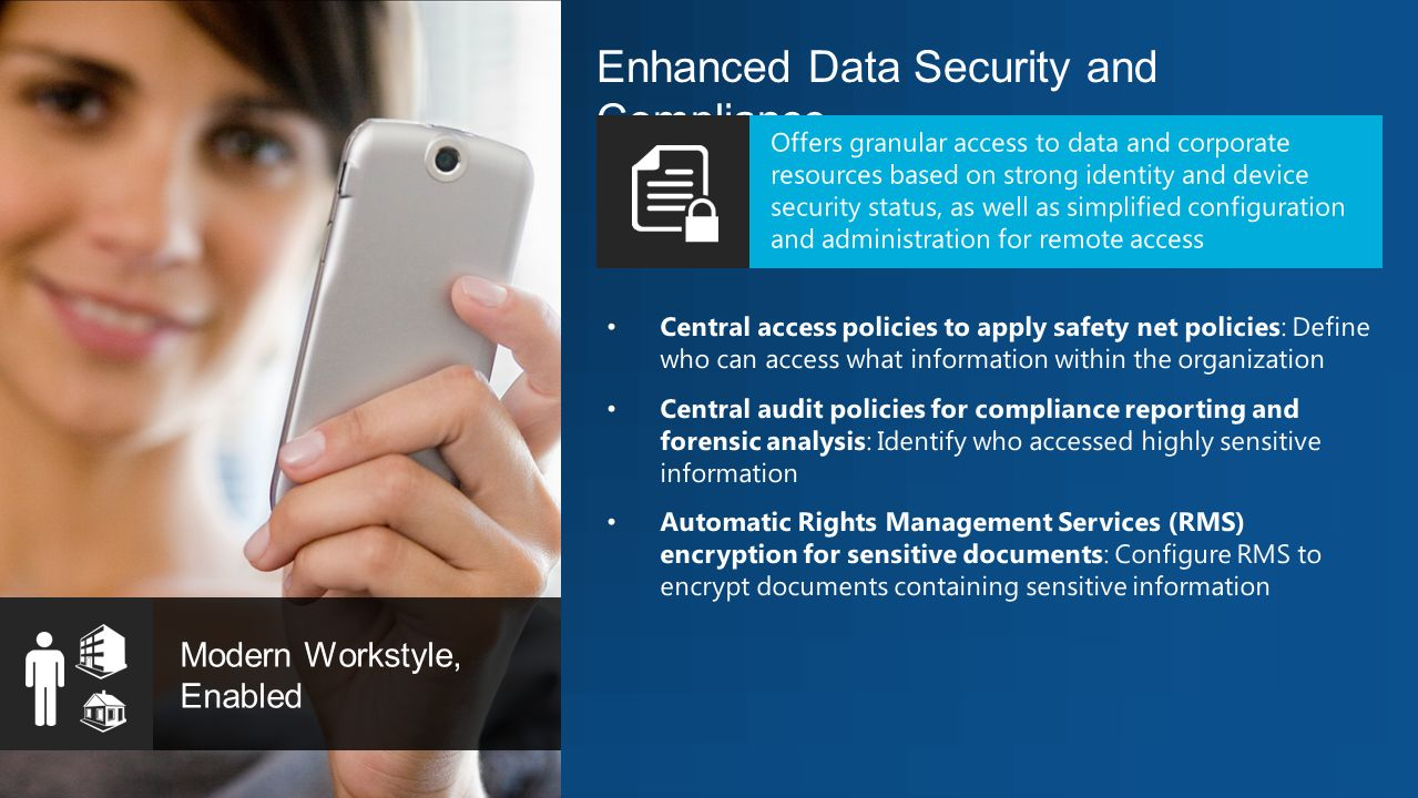 Enhanced Data Security and Compliance Modern Workstyle, Enabled Central access policies to apply safety net policies: Define who can access what information within the organization Central audit policies for compliance reporting and forensic analysis: Identify who accessed highly sensitive information Automatic Rights Management Services (RMS) encryption for sensitive documents: Configure RMS to encrypt documents containing sensitive information Offers granular access to data and corporate resources based on strong identity and device security status, as well as simplified configuration and administration for remote access