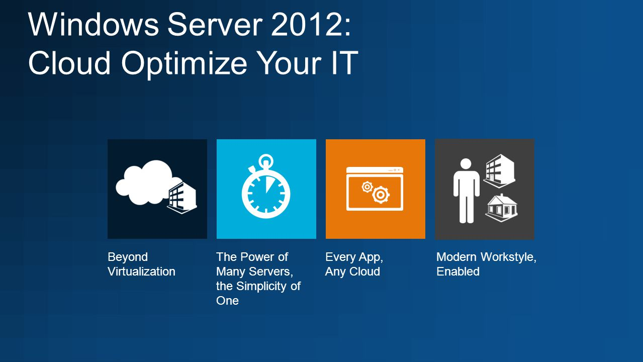 Windows Server 2012: Cloud Optimize Your IT The Power of Many Servers, the Simplicity of One Modern Workstyle, Enabled Every App, Any Cloud Beyond Virtualization