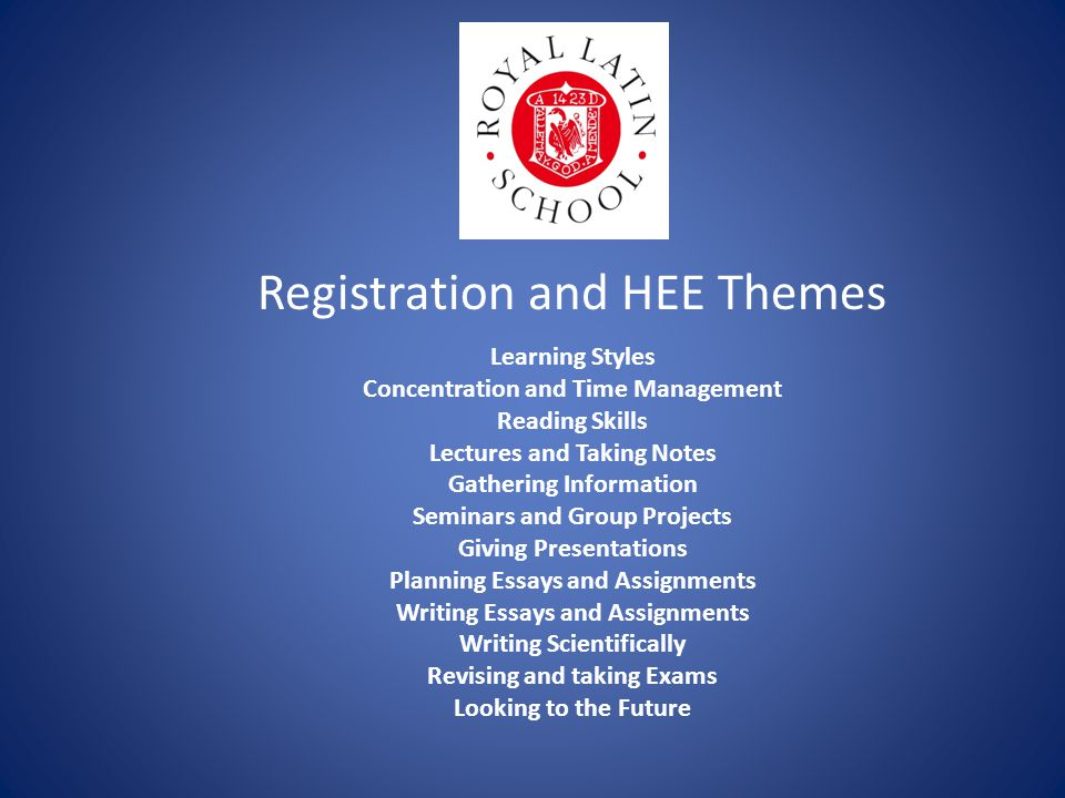 Registration and HEE Themes Learning Styles Concentration and Time Management Reading Skills Lectures and Taking Notes Gathering Information Seminars and Group Projects Giving Presentations Planning Essays and Assignments Writing Essays and Assignments Writing Scientifically Revising and taking Exams Looking to the Future