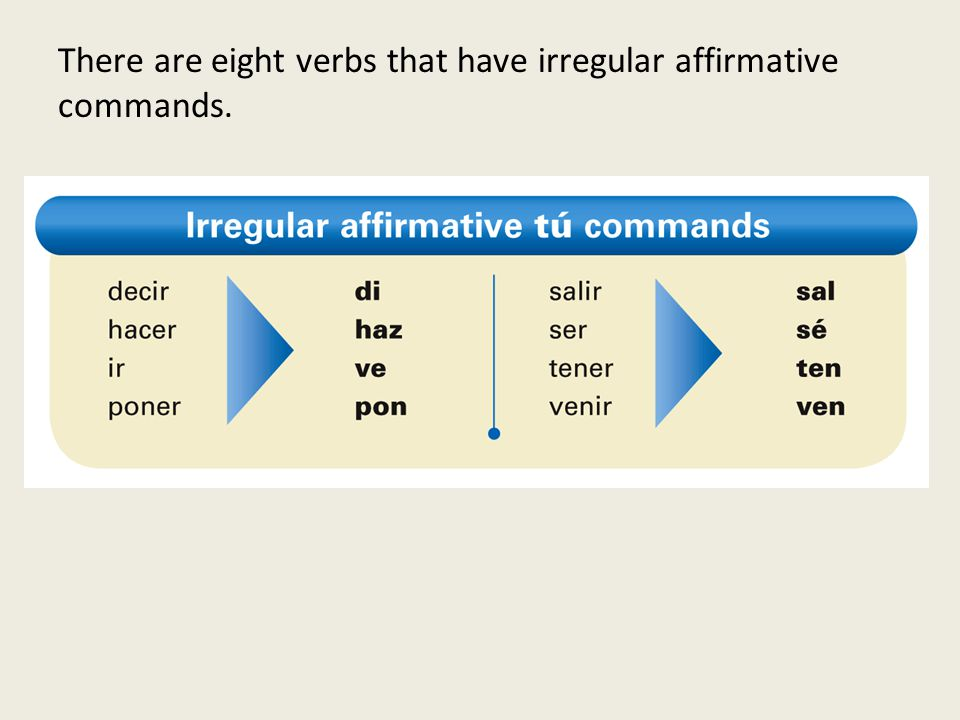 There are eight verbs that have irregular affirmative commands.