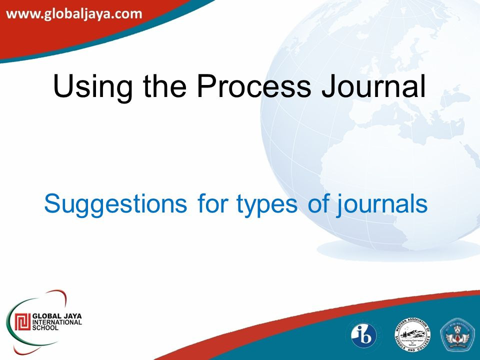Using the Process Journal Suggestions for types of journals