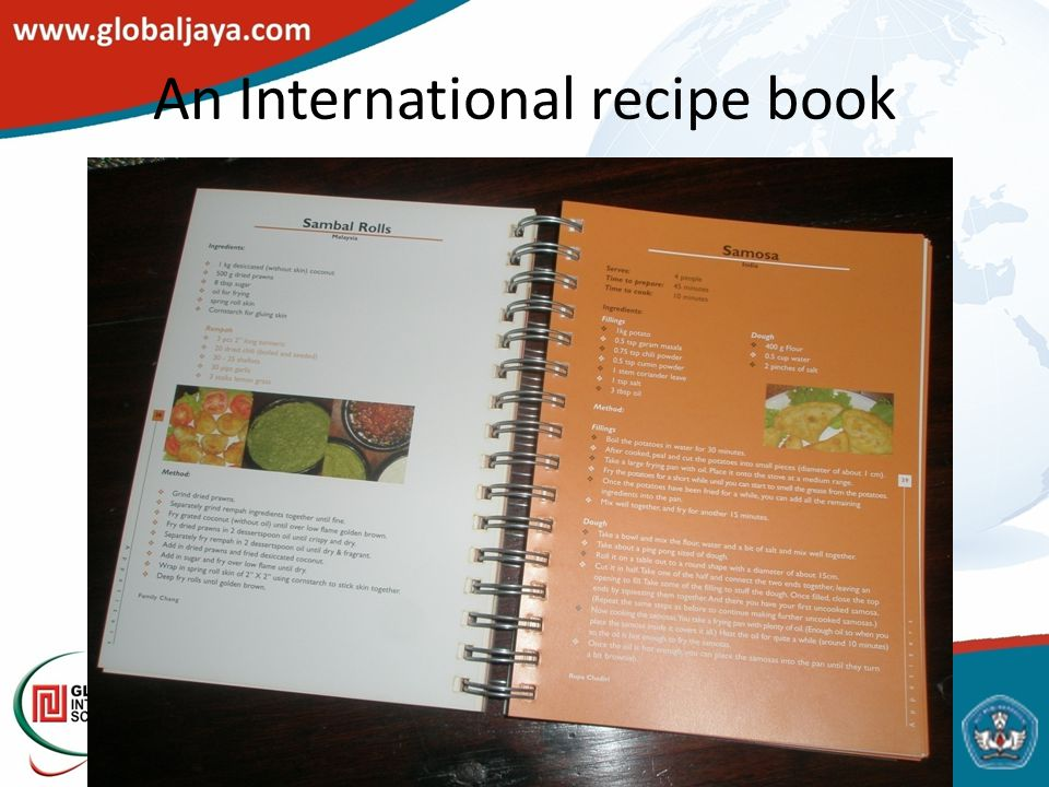 An International recipe book