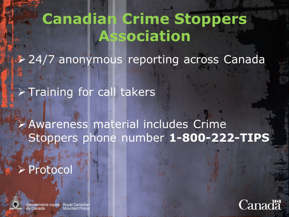 Canadian Crime Stoppers Association  24/7 anonymous reporting across Canada  Training for call takers  Awareness material includes Crime Stoppers phone number TIPS  Protocol