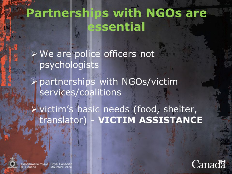 Partnerships with NGOs are essential  We are police officers not psychologists  partnerships with NGOs/victim services/coalitions  victim's basic needs (food, shelter, translator) - VICTIM ASSISTANCE