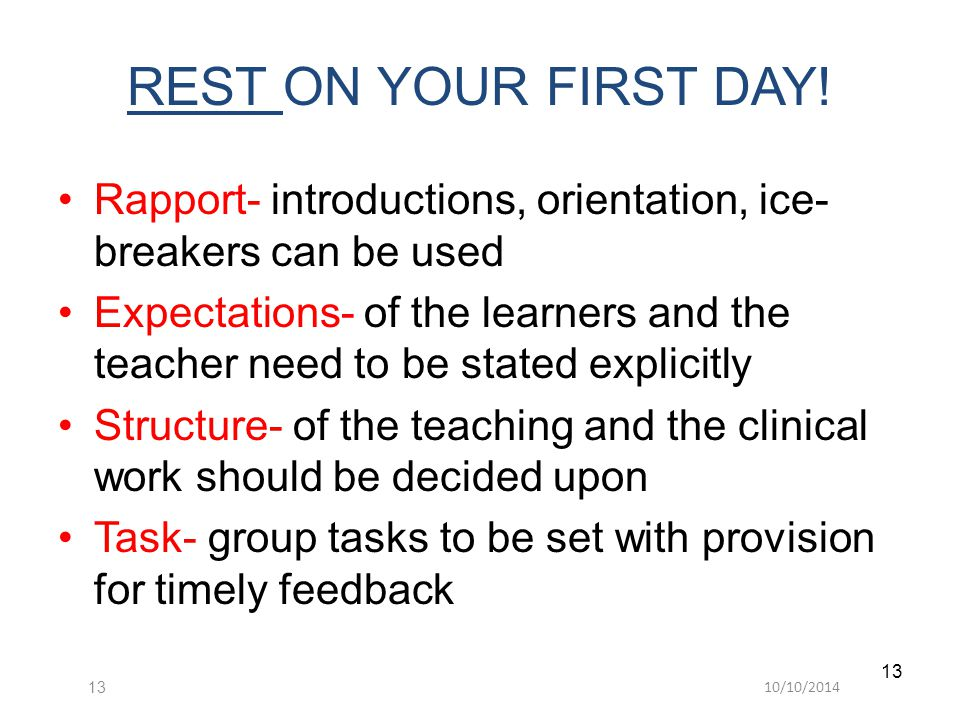 10/10/ REST ON YOUR FIRST DAY.